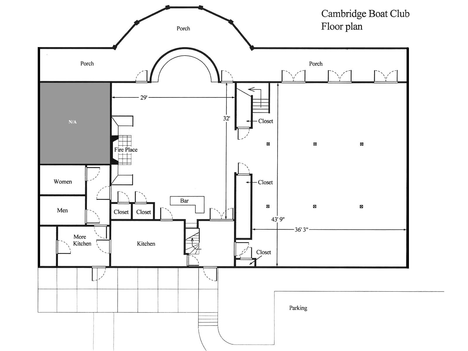 Floor plan of the cambridge boat club cambridge boat club for Nightclub floor plans